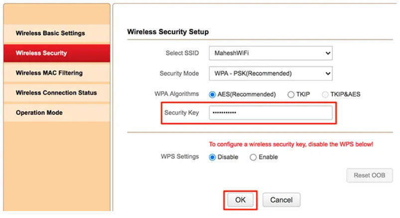 Select Wireless Security