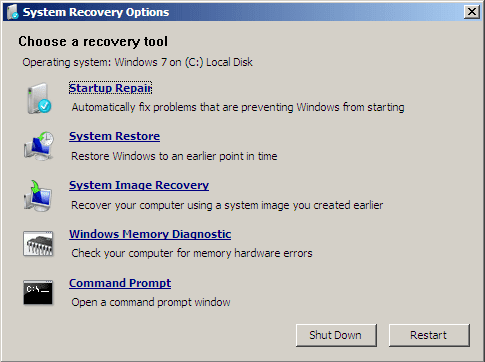 System Recovery Options