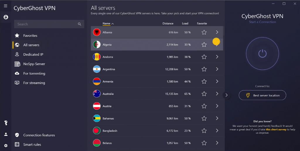 cyberghost vpn server speed
