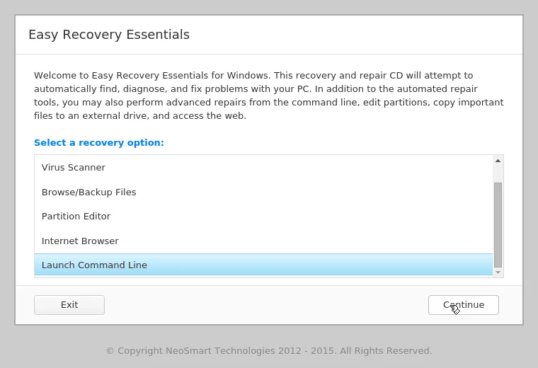easy recovery essentials launch command line