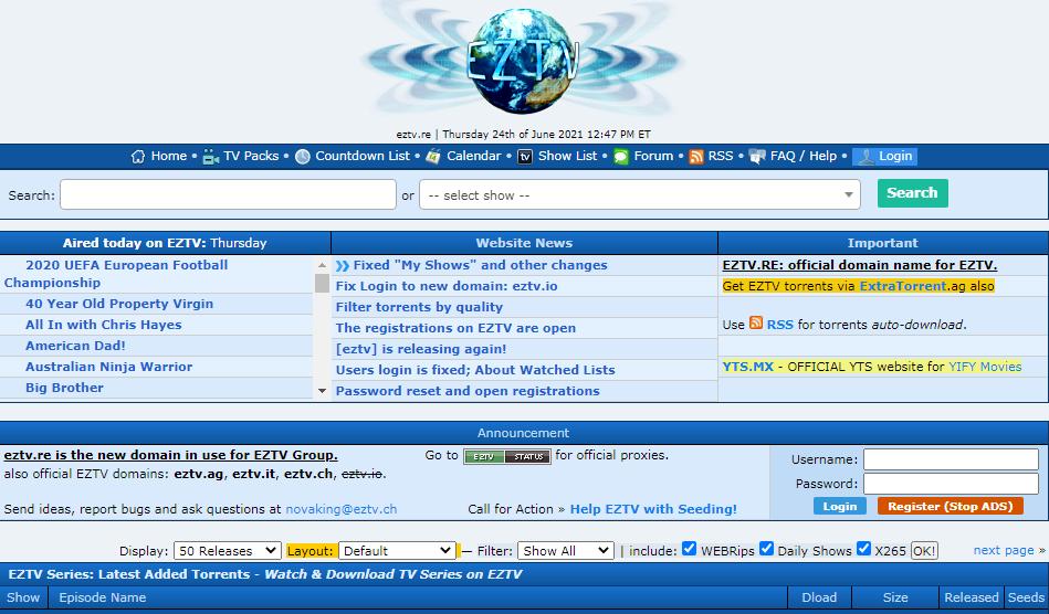 EZTV Torrenting site for TV shows