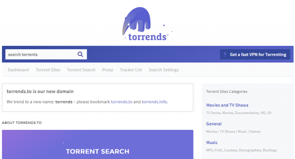 Torrents.to Torrenting site thatcombines the best of other sites