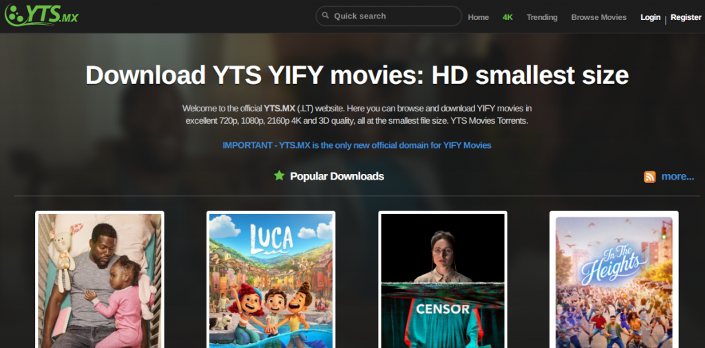 YTS Best torrenting site for HD movies