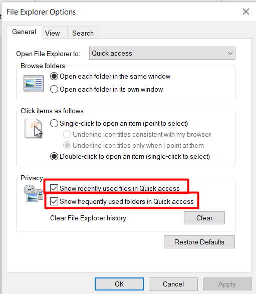 Open File Explorer privacy