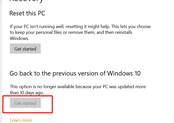 go back to previous version windows 10