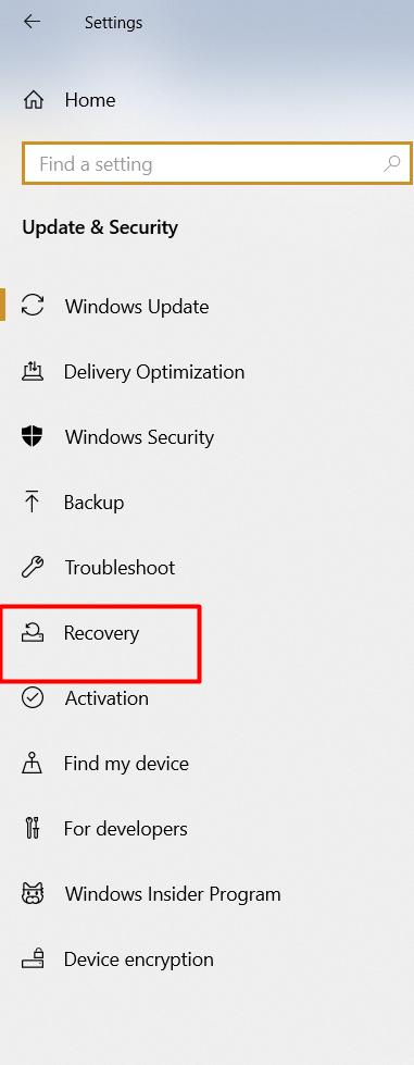 windows recovery option